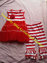 Newest Design Baby Girls Christmas Outfit Super Soft Toddlers Red Stripe Dress with Ruffle Legging Sets