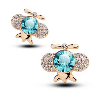 Original Women Jewelry Stud Crystal Airplane Earrings