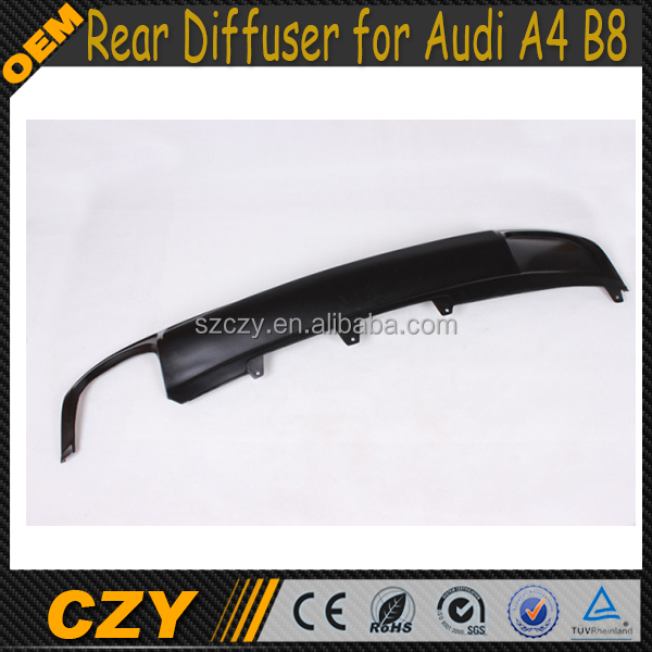 S4 Look Rear Bumper Position PU A4 B8 Car Rear Diffuser for Audi