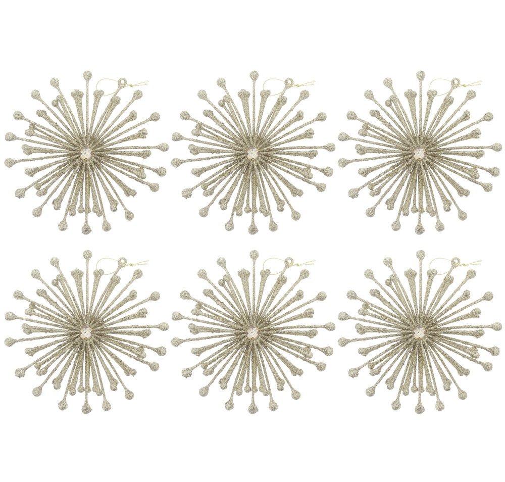 "Elegant Fancy Sparkling Shimmering Christmas Holiday Round Glitter Snowflake Ornaments with Gemstone, Gold, Medium, Set of 6, 6.5"""