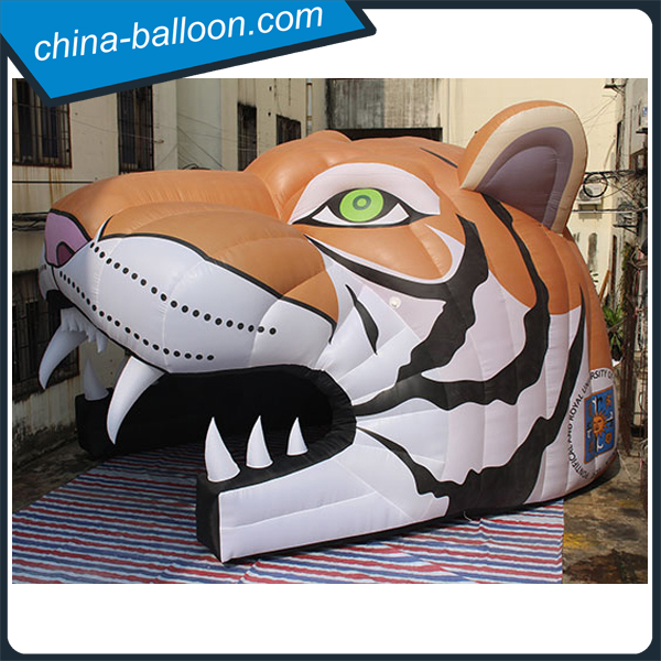 4M height awesome inflatable tiger head / inflatable animal tunnels for event used