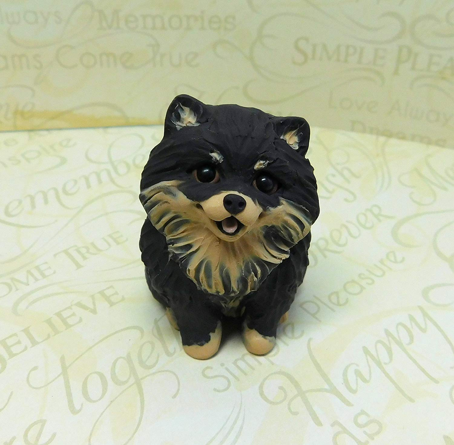 Pomeranian art, Black and tan Pomeranian Sculpture Polymer Clay Mini by Raquel at theWRC Dog Collectible gift