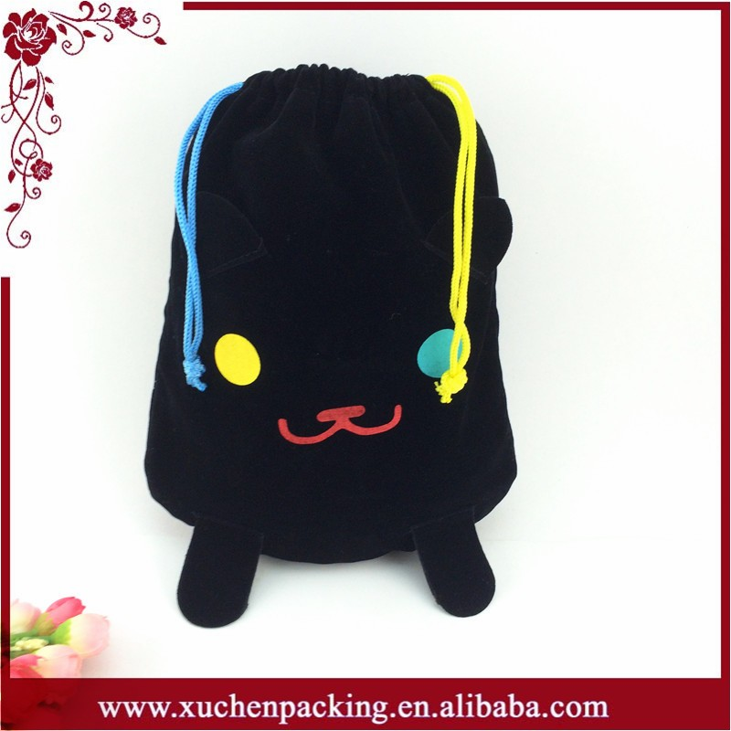 2016 New Arrival Lovely Reusable Velvet Drawstring Bag With Logo