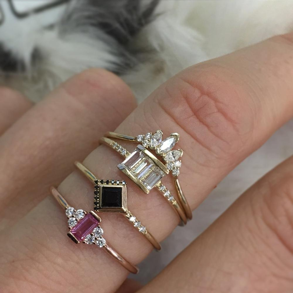 Rose Gold Plated Women Cz Cluster Ring Red White Cz Thin Skinny