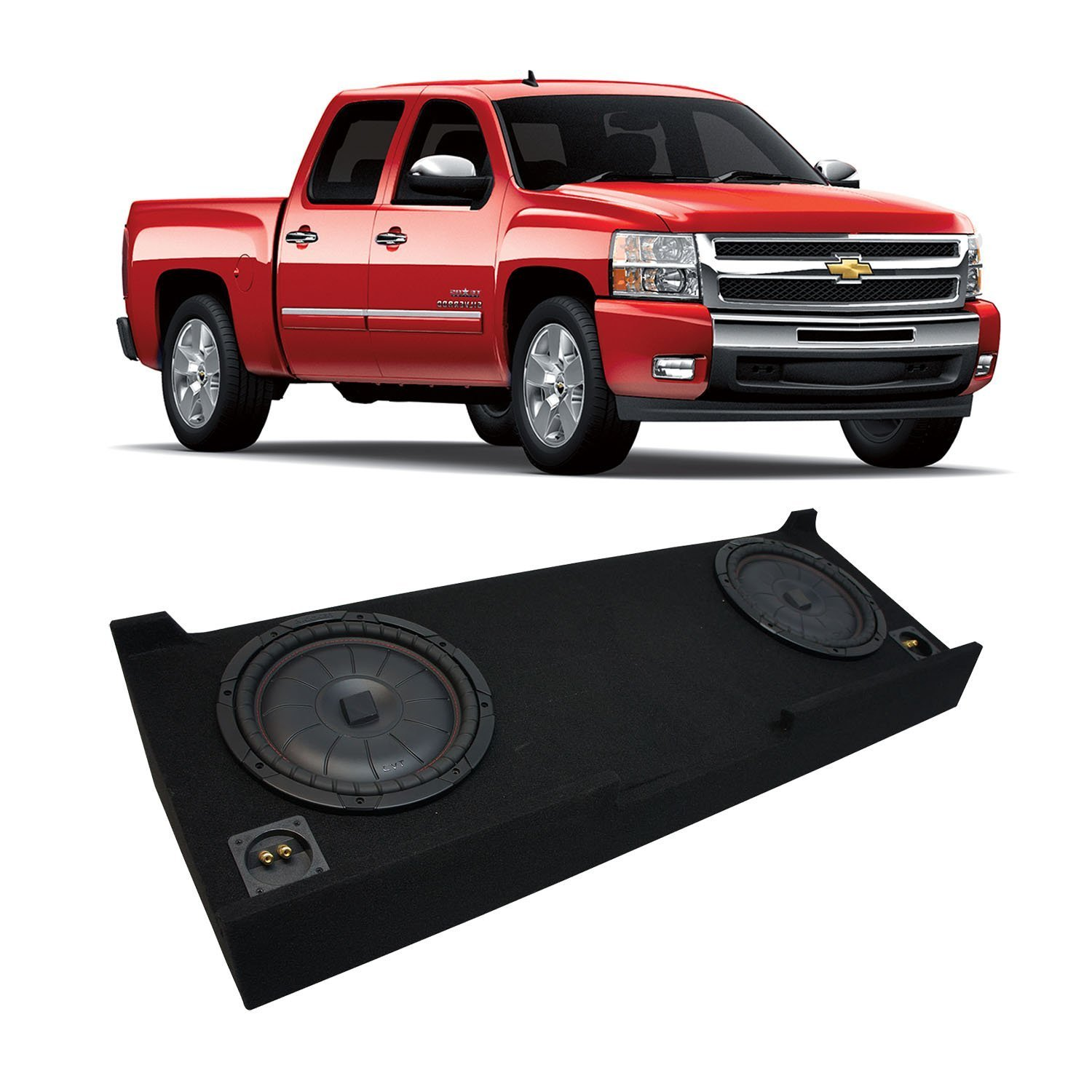 "Fits 2007-2013 Chevy Silverado Crew Cab Truck Kicker CompVT CVT12 Dual 12"" Sub Box Enclosure - Final 2 Ohm"