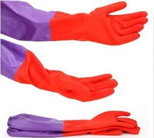 Household Wash Dishes Cleaning Waterproof Long Sleeve Rubber Latex Gloves