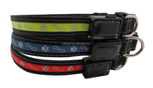 Nylon Pet Dog Collar Night Safety LED Light-up Flashing Battery operated Glow in the Dark
