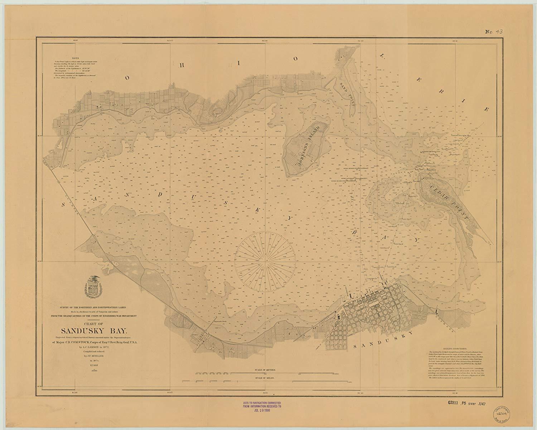 Vintography 24 x 36 Giclee Print Nautical Map Image Sandusky Bay 1874 NOAA 23a