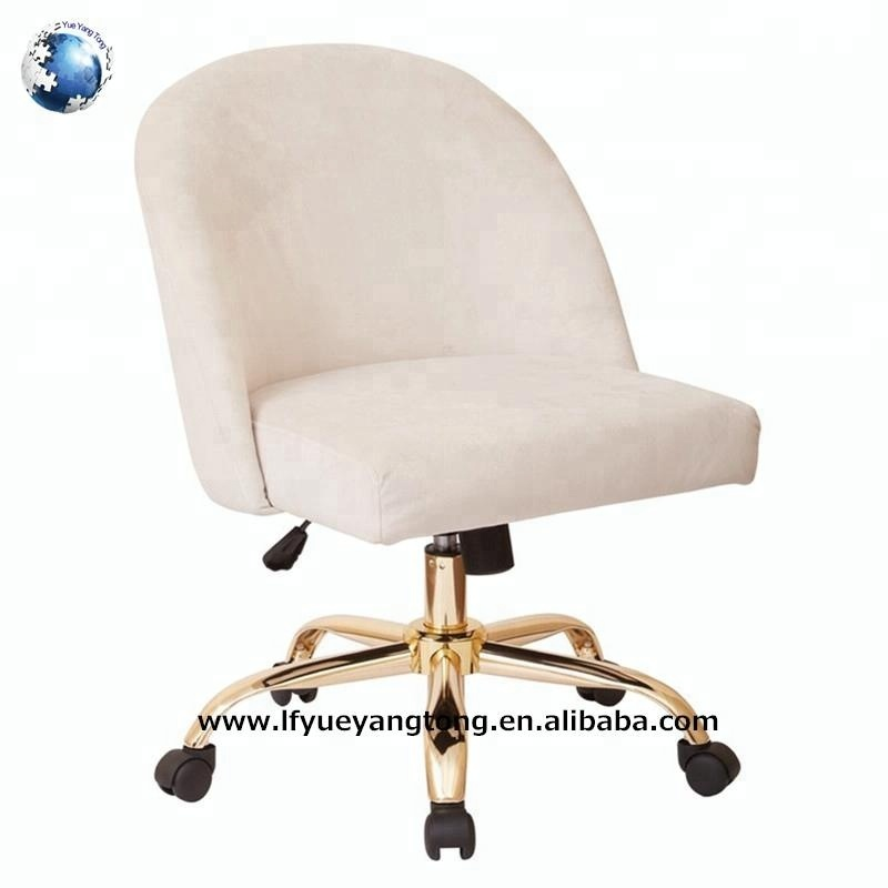 Cream colored swivel round back office chair for pregnant women