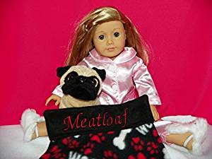 American Girl Doll Pet Dog MEATLOAF: Personalized Paw Print Design Blanket