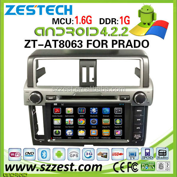 ZESTECH Pure android car dvd WIFI 3G double din for Toyota Prado android car dvd