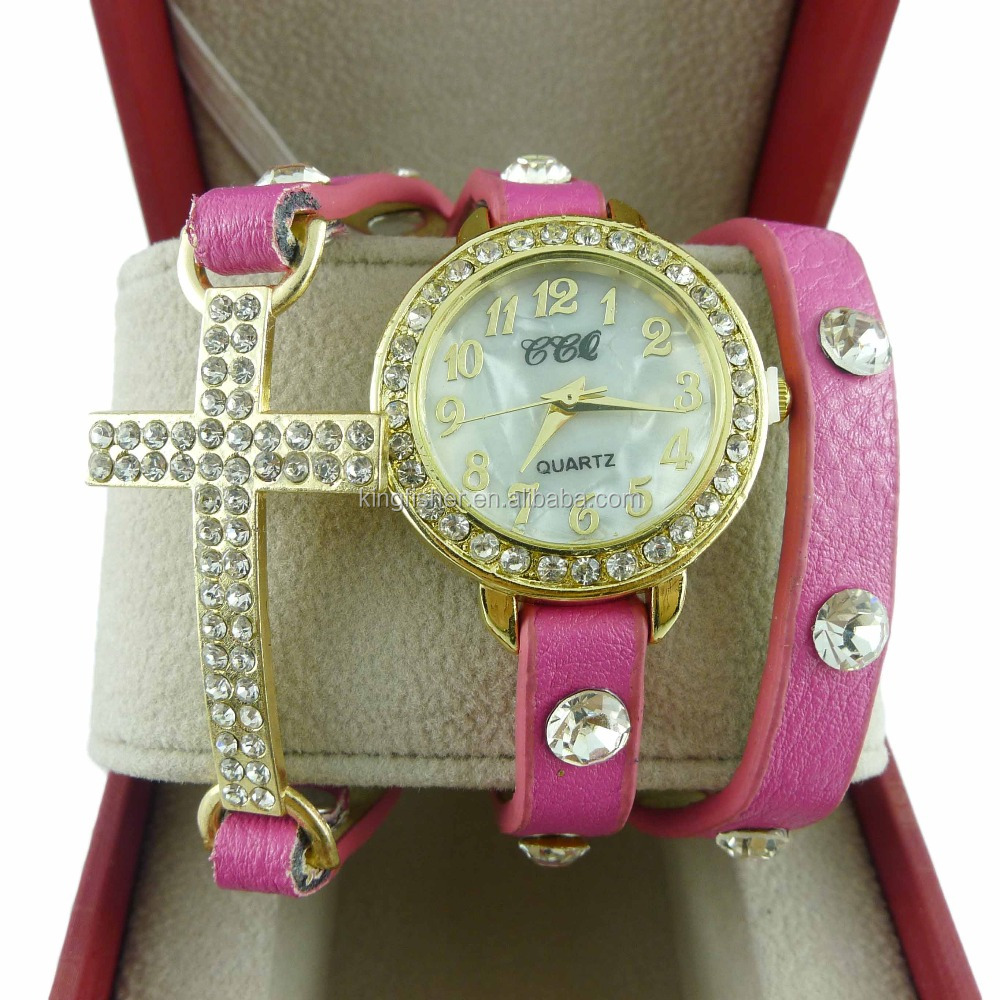 Multi layer colored leather strap crystal rhinestone cross charm women vogue watch