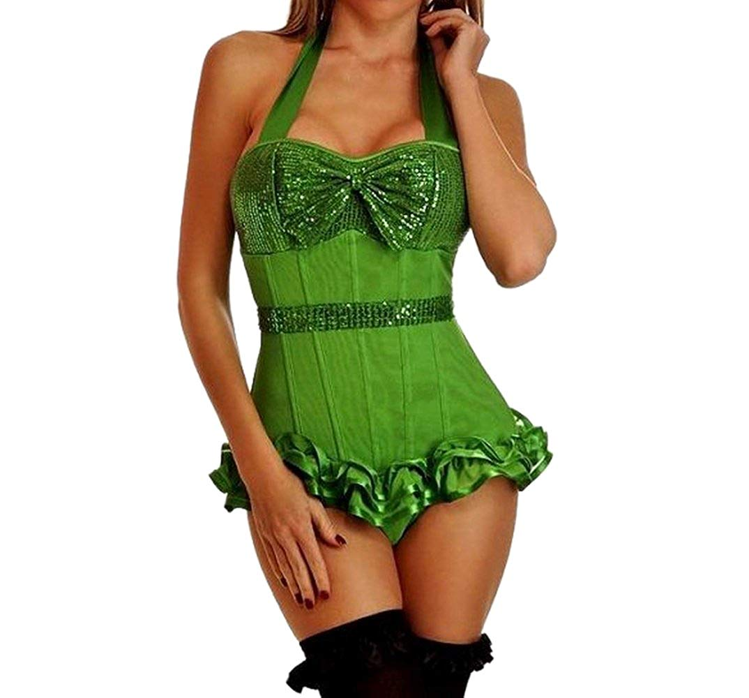 083494a7260 Get Quotations · JJ-GOGO Sequin Corset - 3 Color Womens Sexy Halter  Strapped Overbust Underwired Corset