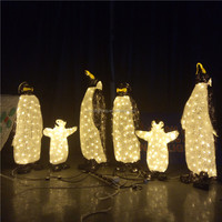 Hot sell customized shape 3D lighted acrylic penguin outdoor festival lightings
