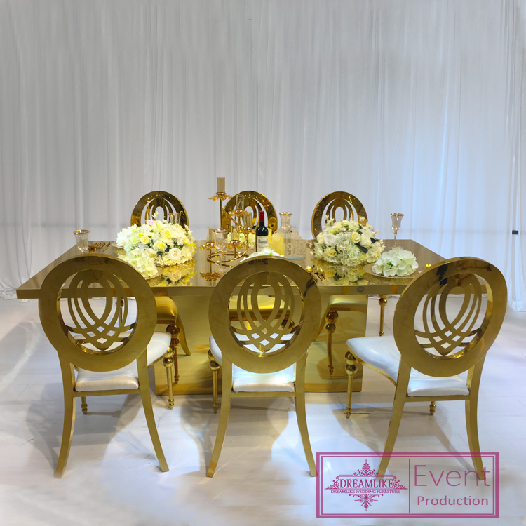 Hollow out back stainless steel wedding banquet restaurant chairs for events