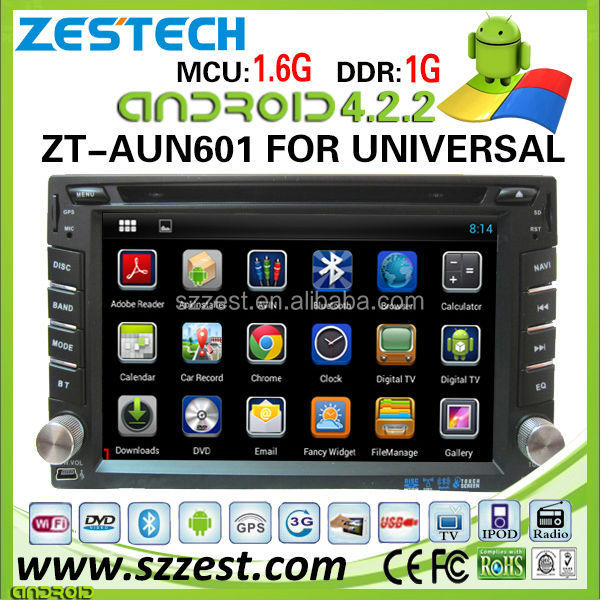 ZT-AUN601 Factory OEM DVD Player Capacitive screen 3G Android car stereo for universal car stereo