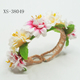 Artificial silk flowers bracelets adjustable metal bangle for woman