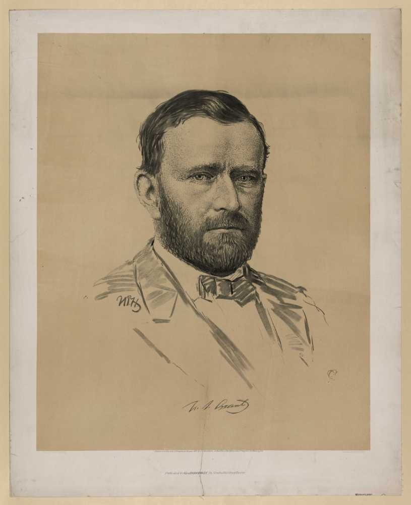 1872 Photo U. S. Grant. / N.T.H. ; CC ; from life by N.T. Hartshorn ; imp. Chas. H. Crosby & Co. Boston. Print shows Ulysses S. Grant, bust portrait, facing slightly right.