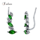 925 Sterling Silver Simulated Emerald CZ cuff Earrings E50112
