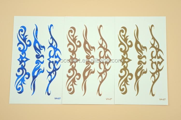 Vh07 Pas Cher Petite Tatouage Tribal Autocollant Or Rose Bleu