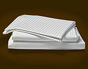 """SRP Linen Egyptian Cotton 500-Thread-Count Super Soft Single Ply Sheet Set (Size: Three Quarter) Striped White Extra Deep Pocket Fit Up to 16"""" inches Deep Pocket"""