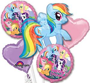 Single Source Party Supplies - My Little Pony Birthday Bouquet Mylar Foil Balloons