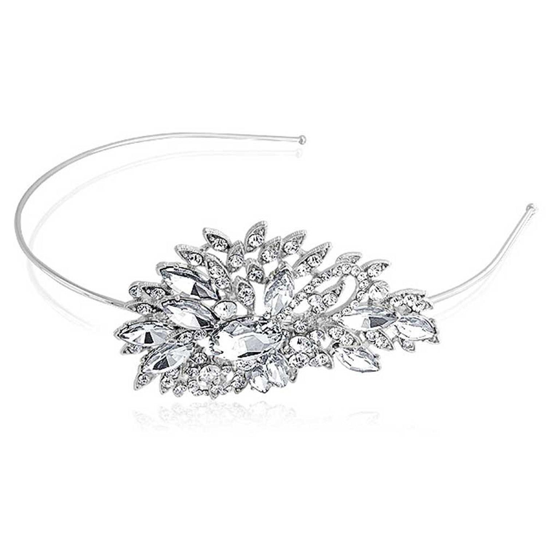 Bling Jewelry Rhinestone Crystal Flower Bridal Headband Silver Plated