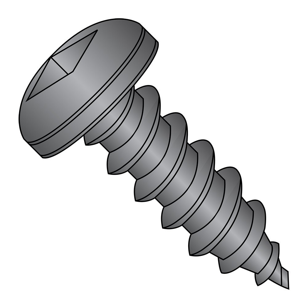 """Steel Sheet Metal Screw, Black Oxide Finish, Pan Head, Square Drive, Type A, #10-12 Thread Size, 5/8"""" Length (Pack of 100)"""