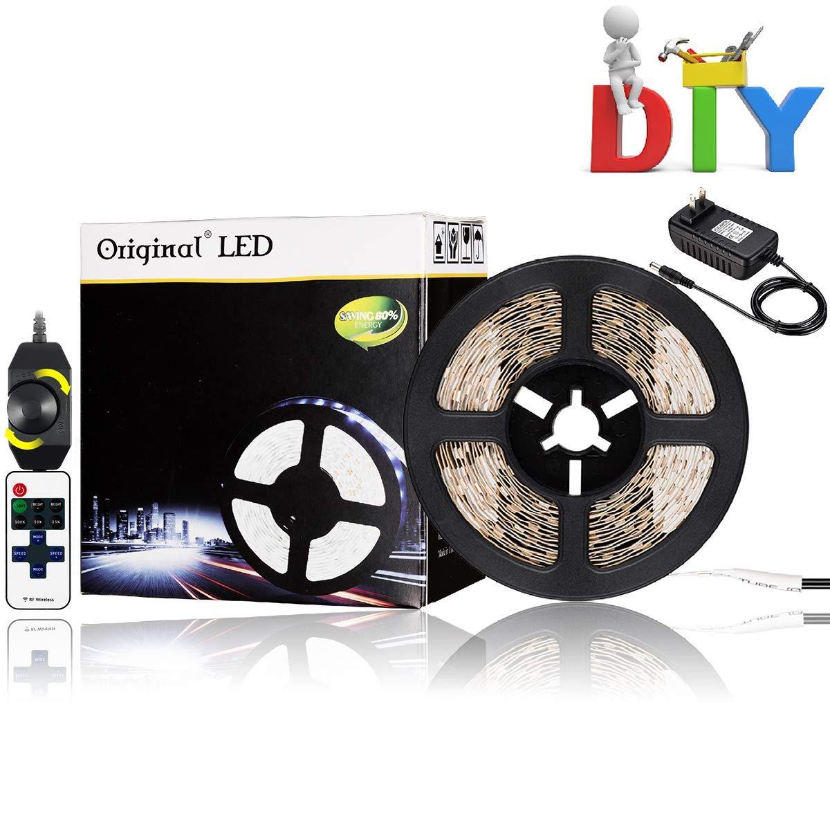 16.4ft LED Flexible Light Strip Kit, 300 Units SMD 3528 LEDs,12V 6000K White Under Cabinet Lighting,DIY Christmas Holiday Home Kitchen Car Bar Indoor Party Decoration