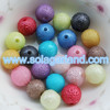 Wholesale 6/8/10MM Acrylic Textured Pearl Round Beads Faux Chunky Pearl Beads Star Dust Gumball Beads