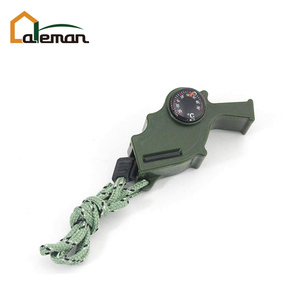 4 in 1 Multifunctional Plastic Storm Whistle/Compass/Thermometer/Fire Flintstone w/Lanyard Survival Gadget OEM Orders Accepted
