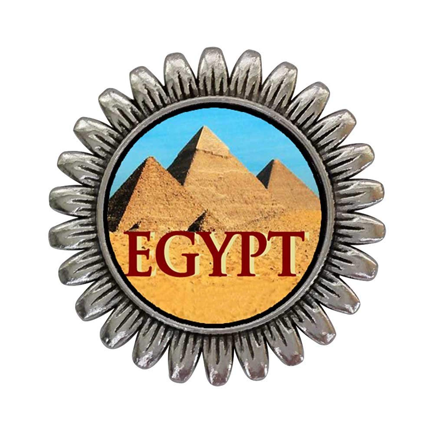 GiftJewelryShop Ancient Style Silver Plate Travel Egypt pyramids Sunflower Pins Brooch