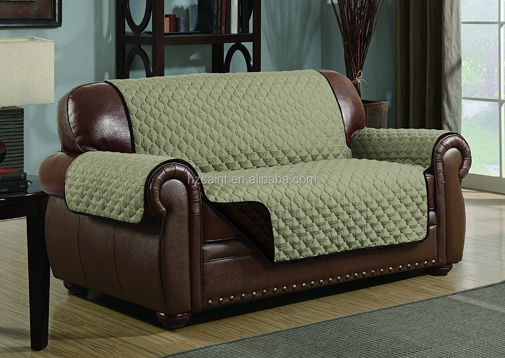 Quilted microfiber sofa cover with elastic strap for Furniture covers with straps