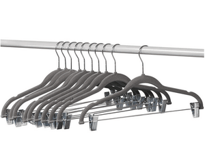 Wholesale Flocked Suit Hanger Grey Velvet With Adjustable Clips Clothes Hangers