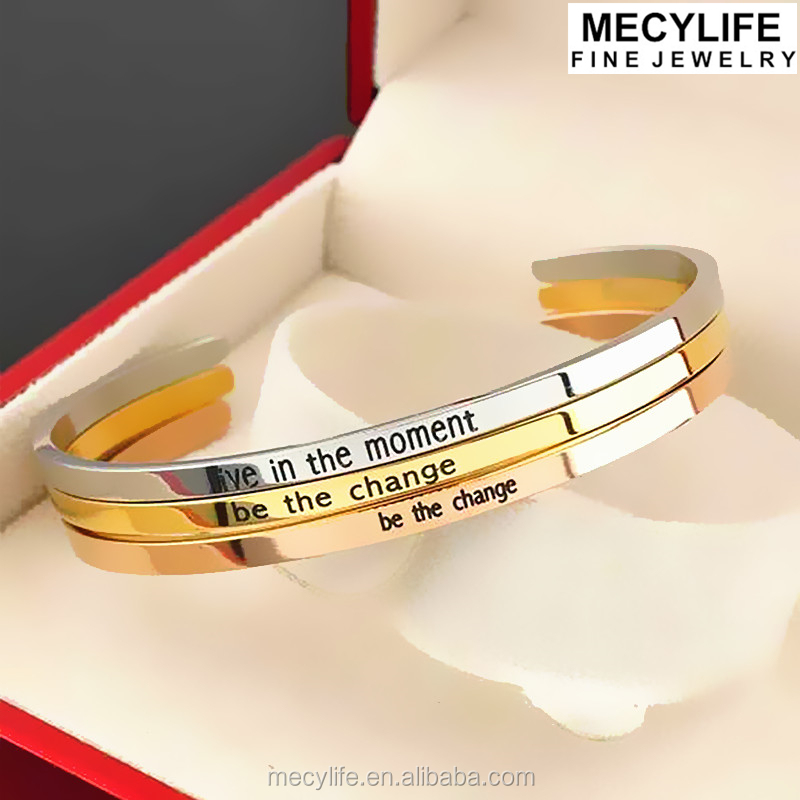 MECYLIFE Opened Bracelet Customized Engraving Cuff Bracelet Stainless Steel Bangle