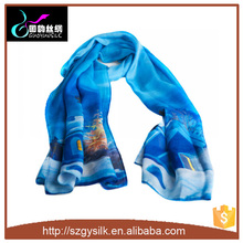 Wholesale High Quality 100% Silk Chiffon Scarves Of Painting