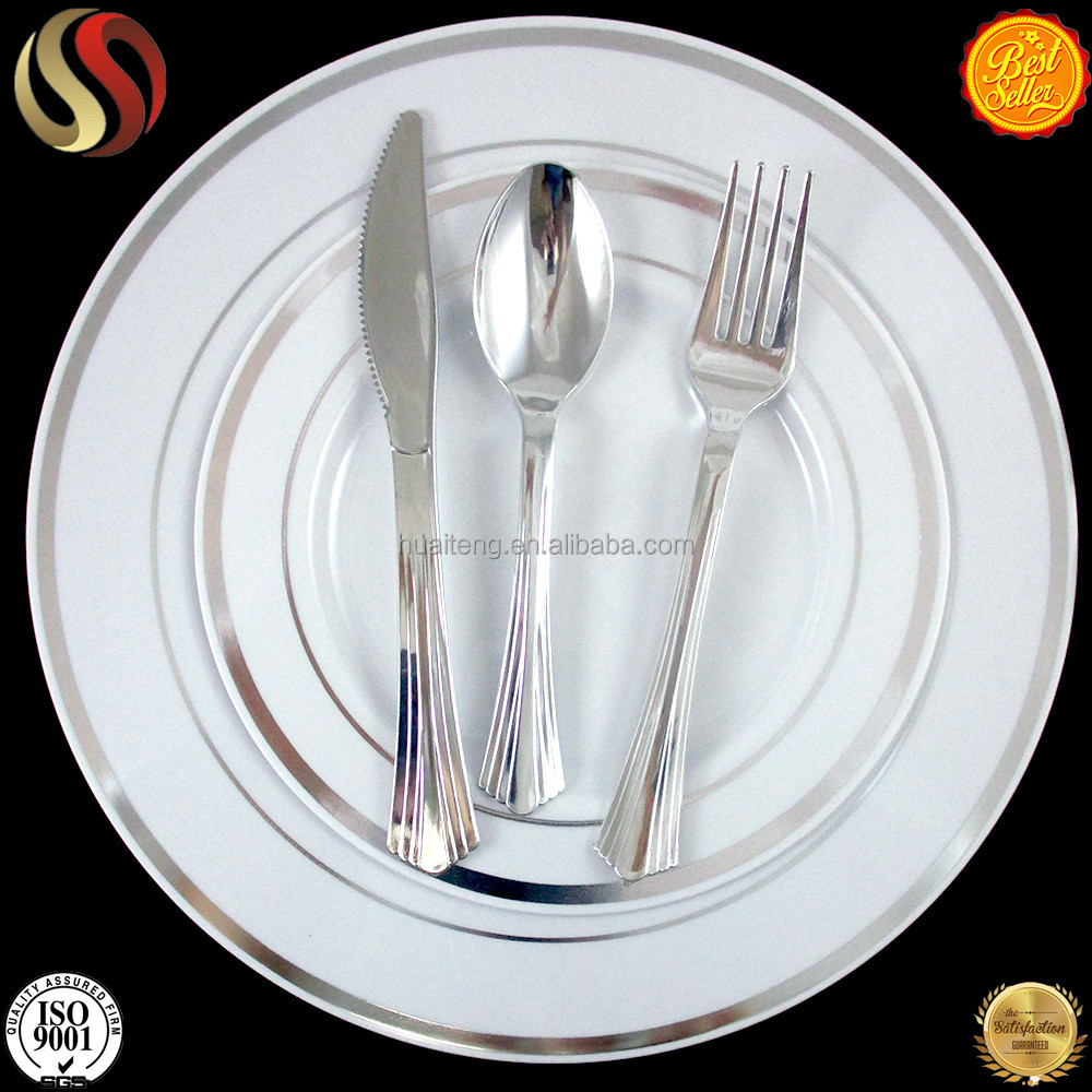 2017wholesale hot new Disposable plastic silver cutlery golden coated cutlery spoon,knife,fork buy direct from china factory