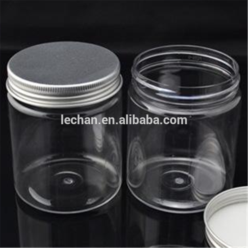Clear Containers 250ml Plastic Jar With Aluminum Lid