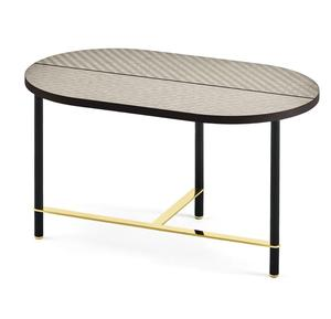 high gloss oval ceramic top coffee table with powder coating golden frame