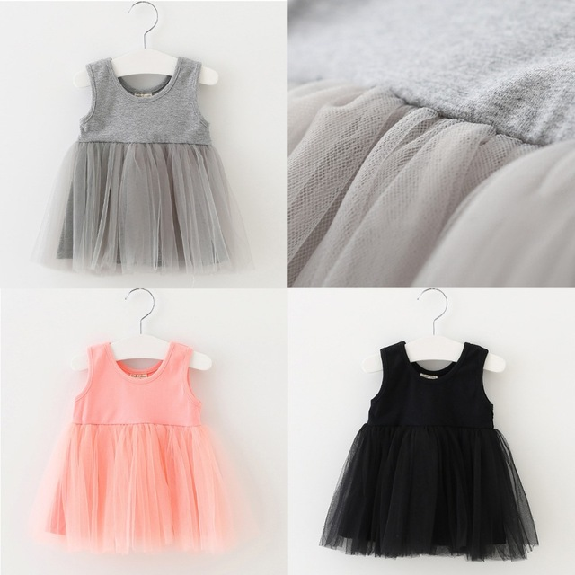 2017 New summer girls solid white black gray pink dress ( can pick color size)
