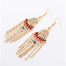 hanru Vintage Multilayer Pompon Drop Earrings Maxi Big Round Color Seed Beads Tassel Earrings for Women 2017 Fashion Brand Jewel