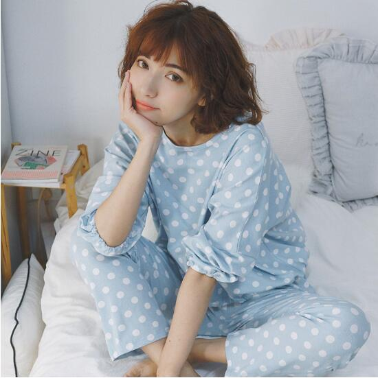 2017 New Autumn and Winter Women Pajama Sets Polka Dot Cute Sleepwear Pajamas For Women Female Girl Long Sleeves Homewear Suit
