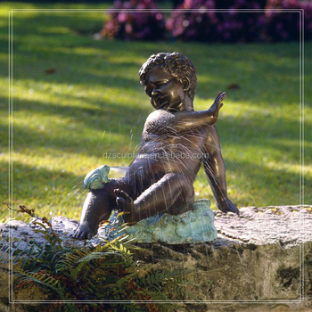 Life Size Bronze Nude Little Boy Garden Water Fountain Statue With Frog