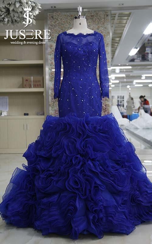 New Coming Stunning Lace Appliqued Ruffled Organza Skirt Long ...