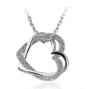18K Real Gold Plated Austria Crystal necklace hollow heart necklace Czech rhinestone double heart necklace