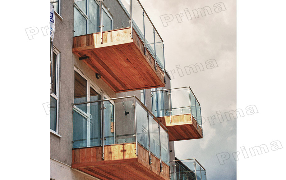 Square Stainless Steel Pipe Glass Balcony Panels Railing