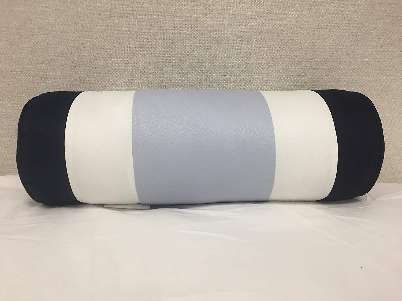 "Bed Bath & Beyond Striped Bolster (Light Blue, Navy, White), 18""x7"""