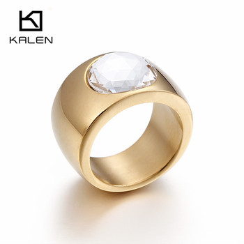 Kalen High Polished Clear Crystal Stone 18K Gold Plated Round Rings Size #6-#9