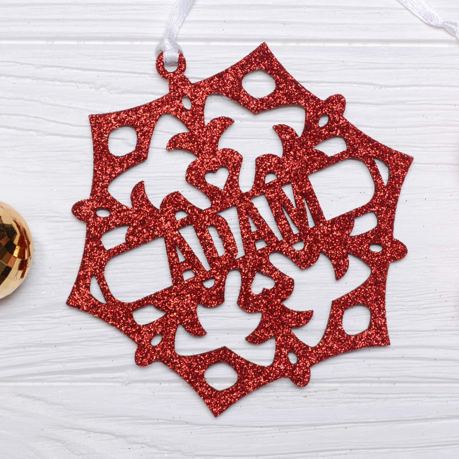 Personalized Christmas Snowflake/Red Glitter Snowflake, Wooden Snowflake Ornament, Christmas Decorations, Holiday Decor, Xmas Gifts