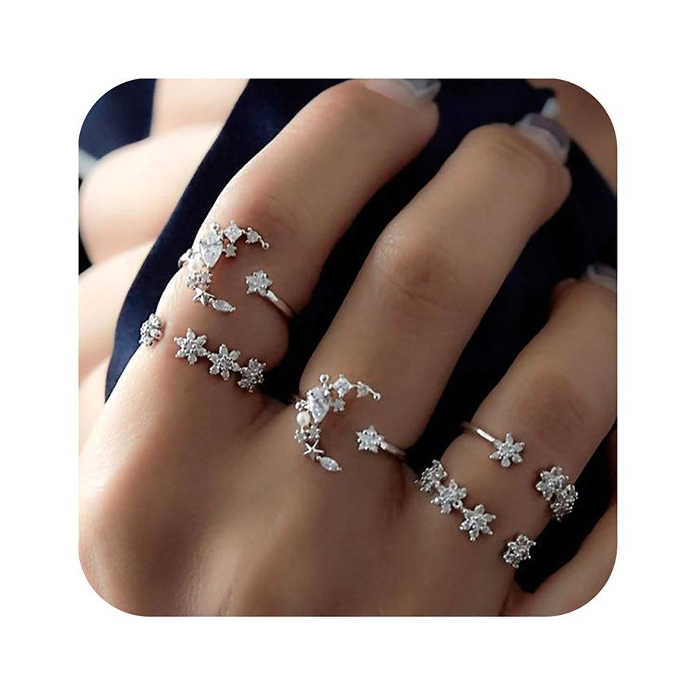 Nager Knuckle Ring Set Vintage Boho Turtle Moon Elephant Rhinestone Midi Rings Set for Women Girls